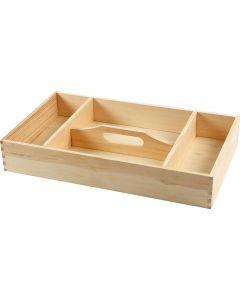Vassoio di legno, H: 7 cm, misura 43x25 cm, 1 pz