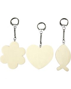 Portachiavi con pendente in legno, misura 6-7 cm, spess. 3 mm, 12 pz/ 1 conf.
