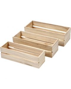Scatole in legno, H: 6,5+7+7,5 cm, L: 22+23,5+25 cm, L: 7+8,5+10 cm, 3 pz/ 1 set