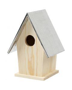 Casetta per uccelli con tetto in zinco, misura 13,5x11x19 cm, misura buco 32 mm, 1 pz