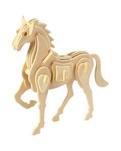 Kit costruzione 3D in legno, cavallo, misura 18x4,5x16 cm, 1 pz