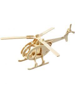 Kit costruzione 3D in legno, elicottero, misura 26,5x14x26 cm, 1 pz