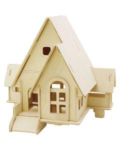 Kit costruzione 3D in legno, Casa con scivolo, misura 22,5x17,5x20,5 , 1 pz