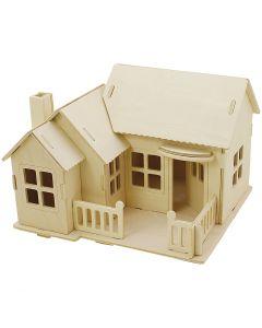 Kit costruzione 3D in legno, Casa con terrazza, misura 19x17,5x15 , 1 pz