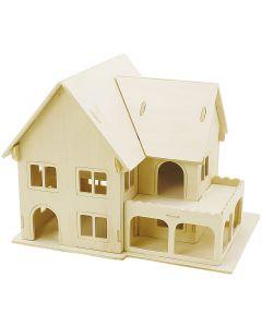 Kit costruzione 3D in legno, Casa con veranda, misura 22,5x16x17,5 , 1 pz