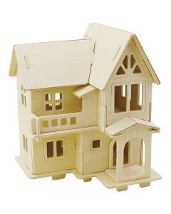 Kit costruzione 3D in legno, Casa con balcone, misura 15,8x17,5x19,5 , 1 pz