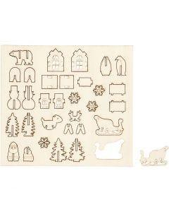 Sagome autoassemblanti, Natale, L: 15,5 cm, L: 17 cm, 1 conf.