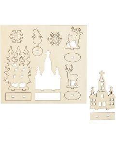 Sagome autoassemblanti, chiesetta, alberi di Natale, renne, L: 15,5 cm, L: 17 cm, 1 conf.