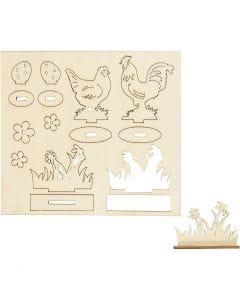 Sagome autoassemblanti, galline e fiori, L: 15,5 cm, L: 17 cm, 1 conf.