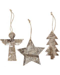 Ornamenti natalizi, H: 10 cm, L: 8 cm, 3 pz/ 1 conf.