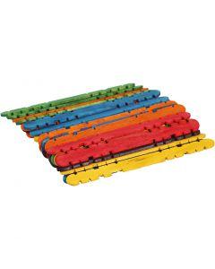 Bastoni da costruzione, L: 11,4 cm, L: 10 mm, colori asst., 30 pz/ 1 conf.