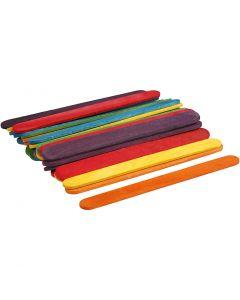 Bastoncini in legno , L: 11,4 cm, L: 10 mm, colori asst., 30 pz/ 1 conf.
