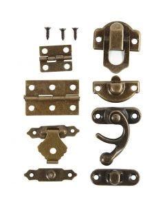 Mini giunture, misura 16x19-19x29,5 mm, oro antico, 15 set/ 1 conf.