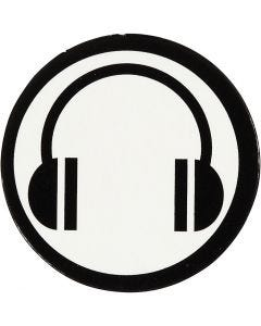 Sagoma in cartoncino, diam: 25 mm, bianco/nero, 20 pz/ 1 conf.