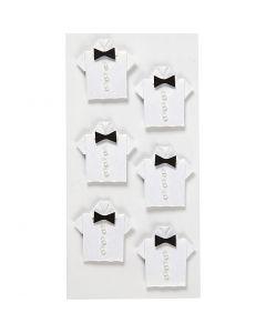 Stickers , camicia, misura 33x35 mm, bianco, 6 pz/ 1 conf.
