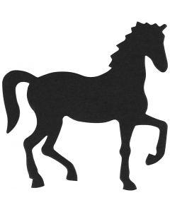 Sagoma in cartoncino, cavallo, misura 60x64 mm, nero, 10 pz/ 1 conf.