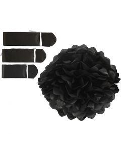 Pom-poms in carta velina, diam: 20+24+30 cm, 16 g, nero, 3 pz/ 1 conf.