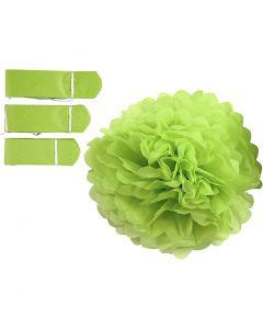 Pom-poms in carta velina, diam: 20+24+30 cm, 16 g, verde lime, 3 pz/ 1 conf.