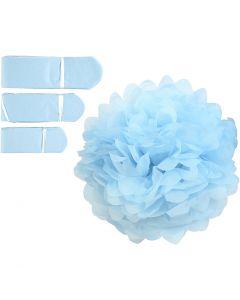 Pom-poms in carta velina, diam: 20+24+30 cm, 16 g, azzurro, 3 pz/ 1 conf.