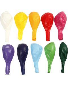 Palloncini, rotondi, diam: 23 cm, colori asst., 10 pz/ 1 conf.