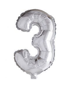 Palloncino alluminio - 9, 3, H: 41 cm, argento, 1 pz
