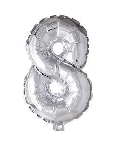 Palloncino alluminio - 9, 8, H: 41 cm, argento, 1 pz
