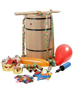 Barile di Carnevale con accessori, H: 54 cm, grande, 1 set