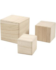 Cubi di legno, misura 5+6+8 cm, 3 pz/ 1 conf.
