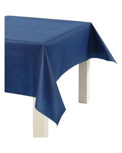 Tovaglia in finta stoffa, L: 125 cm, 70 g, blu scuro, 10 m/ 1 rot.