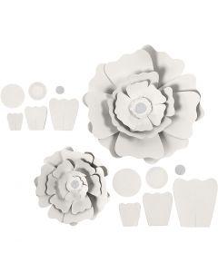 Fiori di carta, diam: 15+25 cm, 230 g, bianco, 2 pz/ 1 conf.