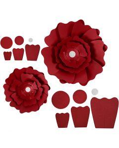 Fiori di carta, diam: 15+25 cm, 230 g, rosso, 2 pz/ 1 conf.