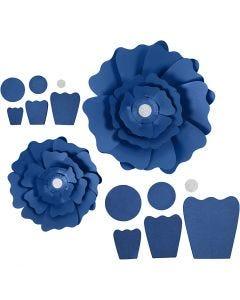 Fiori di carta, diam: 15+25 cm, 230 g, blu, 2 pz/ 1 conf.