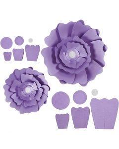 Fiori di carta, diam: 15+25 cm, 230 g, viola, 2 pz/ 1 conf.