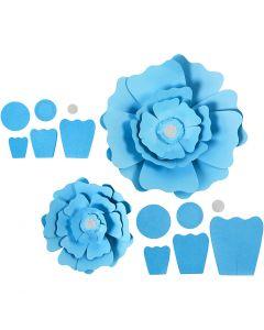 Fiori di carta, diam: 15+25 cm, 230 g, azzurro, 2 pz/ 1 conf.