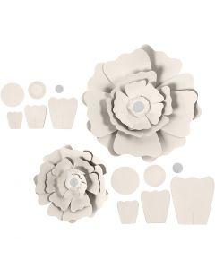 Fiori di carta, diam: 15+25 cm, 230 g, avorio, 2 pz/ 1 conf.