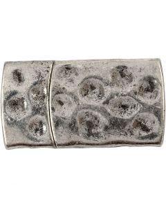 Fibbia magnetica, misura 7x29 mm, misura buco 3x10 mm, argento antico, 1 pz