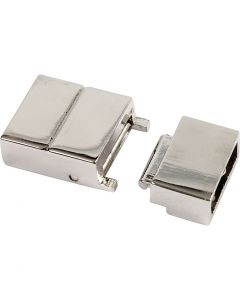 Chiusura click, misura 25x16x6 mm, misura buco 4x8 mm, placcato argento, 1 pz