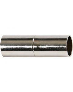 Fibbia magnetica, L: 23 mm, misura buco 6 mm, placcato argento, 2 pz/ 1 conf.