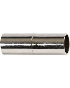 Fibbia magnetica, L: 20 mm, misura buco 5 mm, placcato argento, 2 pz/ 1 conf.