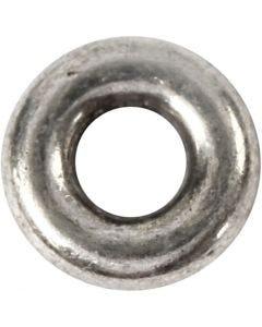 Perlina separatrice, diam: 9 mm, misura buco 4 mm, argento antico, 15 pz/ 1 conf.