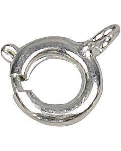 Chiusure ad anello a molla, diam: 7 mm, placcato argento, 100 pz/ 1 conf.