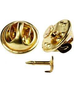Spille con fermaglio, diam: 11,5 mm, placcato oro, 25 pz/ 1 conf.