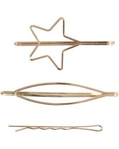 Molletta per capelli, L: 70 mm, L: 32 mm, placcato oro, 3 pz/ 1 conf.
