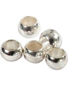 Perline a conchiglia, diam: 2 mm, placcato argento, 100 pz/ 1 conf.