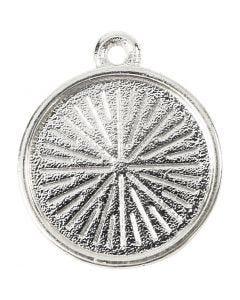 Ciondolo cabochon, diam: 16 mm, misura buco 1,5 mm, metallico, 4 pz/ 1 conf.
