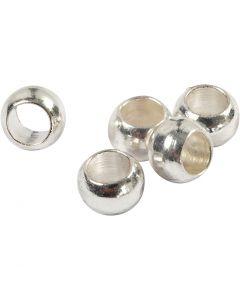 Perline a conchiglia, diam: 2,5 mm, placcato argento, 100 pz/ 1 conf.