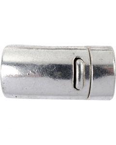 Fibbia magnetica, diam: 26 mm, misura buco 10 mm, argento antico, 1 pz
