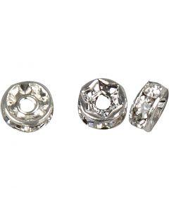 Rondelle con diamanti sintetici, diam: 6 mm, misura buco 1,2 mm, placcato argento, 50 pz/ 1 conf.
