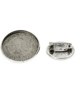 Spilla, diam: 18+25 mm, argento antico, 6 pz/ 1 conf.