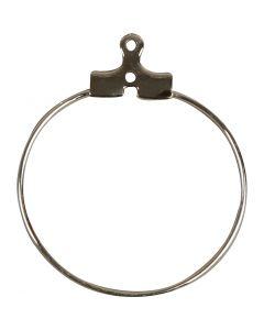 Orecchini a cerchio da decorare, diam: 25 mm, placcato argento, 60 pz/ 1 conf.